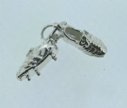 Sterling silver small football boots charm